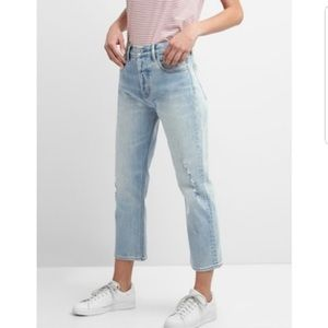 Gap High Rise Crop Straight Jeans Distressed